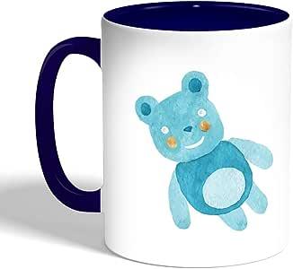 كوب سيراميك للقهوة، لون ازرق،  بتصميم لعب اطفال - دب