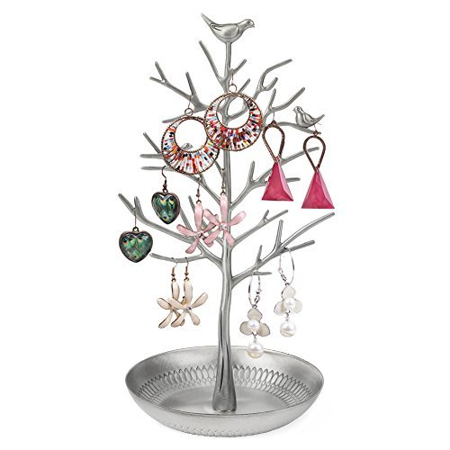 ZHCH Tree Birds Jewelry Display Stand Holder Rack for Hanging Earring Necklaces Bracelets Ring (antique silver) (Bird Earring Holder)