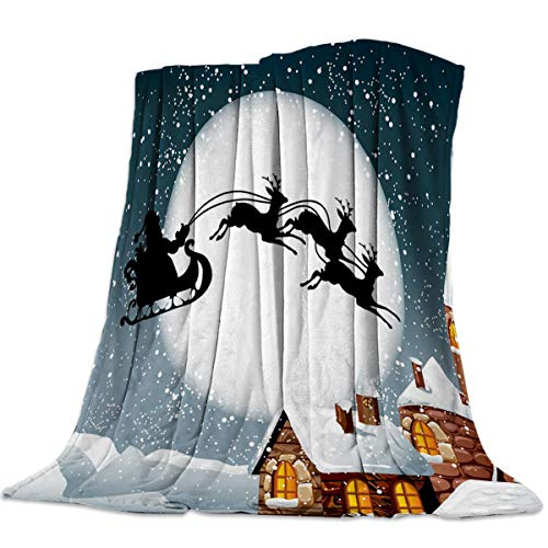 EARLYBUS Flannel Throw Blanket Fuzzy Christmas Eve Santa Claus Sleigh Chimney Super Soft Cozy Shaggy Microfiber Reversible Breathable All Season Couch Bed Soft Twin Queen 50x80 inch -