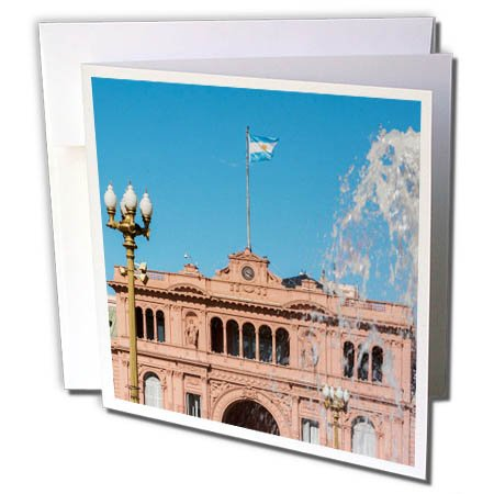 3dRose Danita Delimont - Architecture - Fountain in Plaza de Mayo with Casa Rosada, Buenos Aires, Argentina - 6 Greeting Cards with envelopes - Center Town Plaza