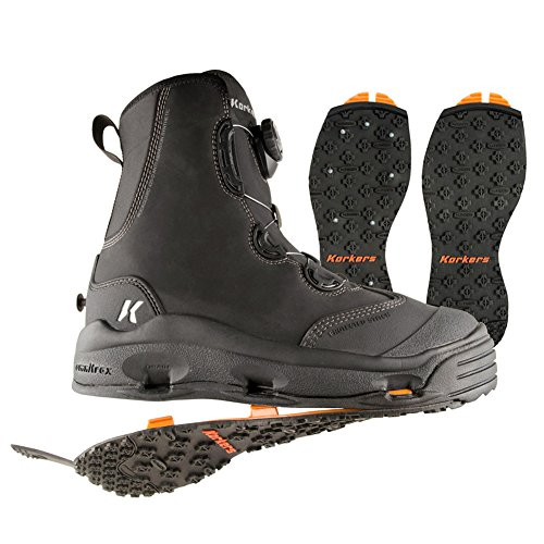 Korkers Devil's Canyon Wading Boot with Kling-On and Studded Kling-On Outsoles, Black, 10