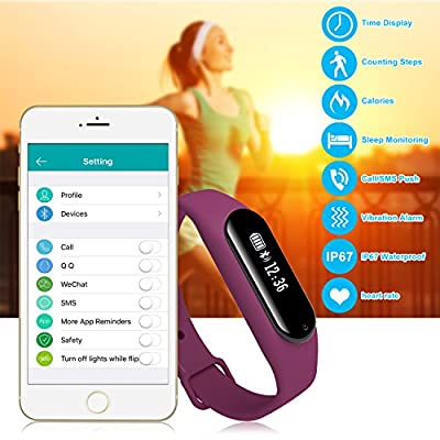 Fitness Tracker with Heart Rate Monitor Gosund C6 Waterproof Activity Tracker Pedometer Call/SMS push for Android and IOS (purple)