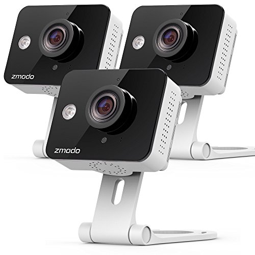 Zmodo 720p HD WiFi Wireless Home Security Camera System Two-Way Audio Night Vision Motion Alerts 115 Degree Viewing Angle (3- Pack)