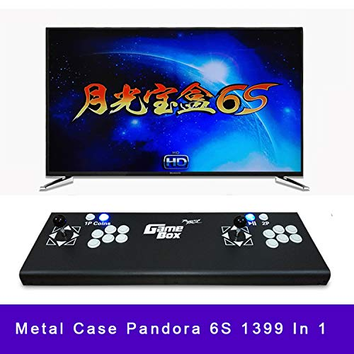 (1399 in 1 HD Home 2 Player Retro Arcade Video Game Machine Pandora Treasure 6S Black Metal Box Support PC/PS Joystick)