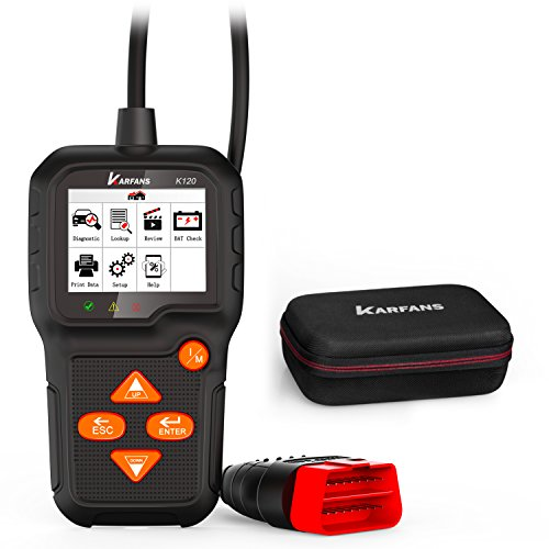 Karfans K120 (Universal) OBD 2 Scanner with Car Battery Monitor, Vehicle Code Reader (Monitor Emission Control Systems, Quick Check Car trouble Codes & Erase Engine Fault Code) With Free Carrying Case
