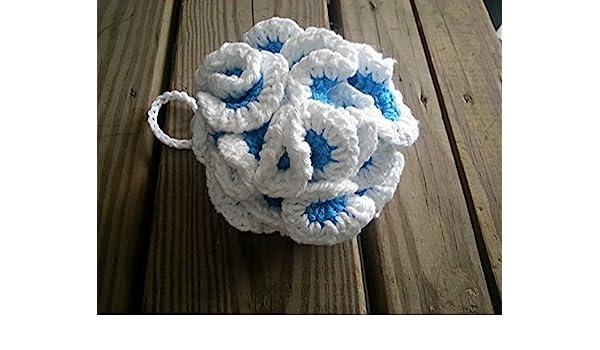 Amazoncom Eco Friendly Cotton Bath Pouf Blue And White Loofa