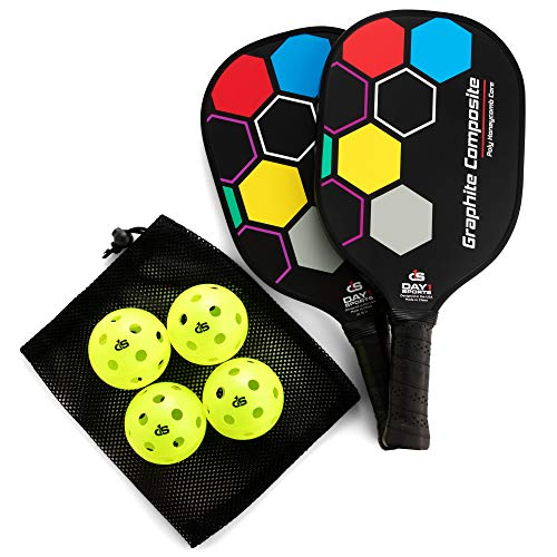 - Day 1 Sports Premium Pickleball Set - 2 Paddle Set with Mesh Carry Bag, 4 Balls Durable Pickle Ball Paddles with Cushion Comfort Grip and Accessories - Graphite-Face Racquets, Pickleballs