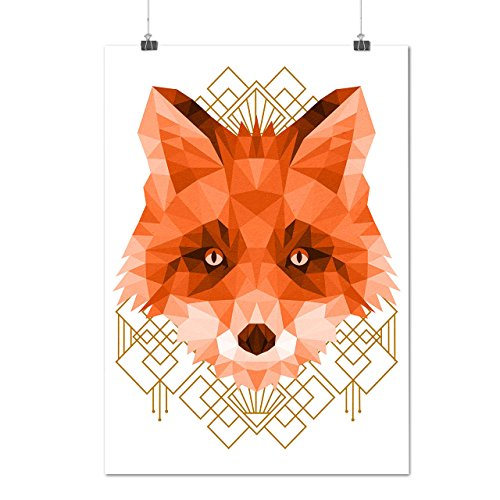 Polygonal Fire Fox Animal Shape Matte/Glossy Poster A2 (17x24 inches) | Wellcoda