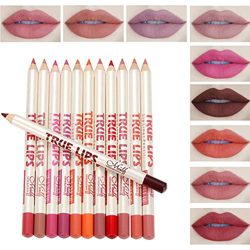 Ownest 12 Colors Ultra Fine Lip Liner Set,Waterproof Non-marking Matt Velvet Lipstick Pen Kit-12pcs