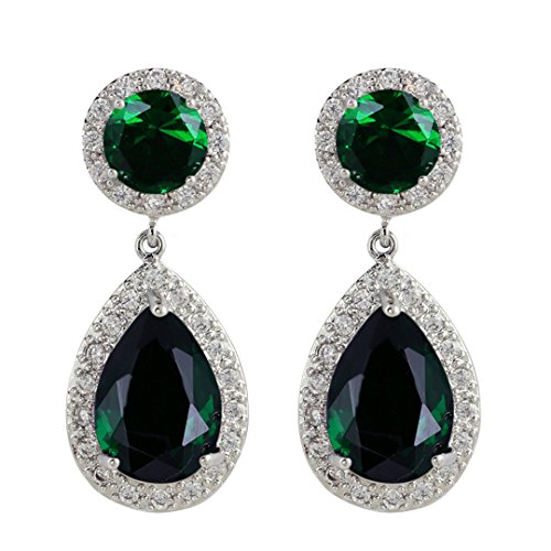 SELOVO Teardrop Green Drop Earrings Cubic Zirconia Emerald-color Jewelry Silver (Costume Jewelry Emeralds)