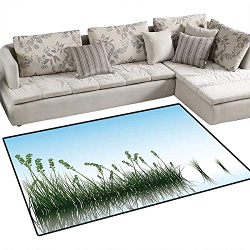 - Landscape Floor Mat for Kids Scenery of a Lake Bushes Grass with Reflection Floral Art Image Print Bath Mat Non Slip 55