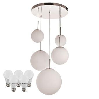 Suspension LED boules verre opale satiné lampe DEL lustre éclairage  luminaire 96e2a7402d67