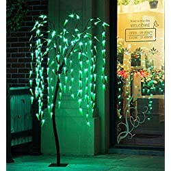 Fashionlite 5.5 FT Lighted Willow Tree 200 LED Weeping Willow Light Tree, All Season Decorations