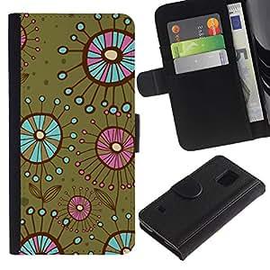 KingStore / Leather Etui en cuir / Samsung Galaxy S5 V SM-G900 / Las bacterias flores verde del trullo