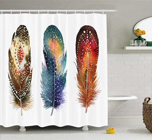 Ornaments Christmas Feather (Ambesonne Asian Shower Curtain, Asian Ethnic Feathers with Tribal Ornament Ceremonial Esoteric Inspired Design Print, Fabric Bathroom Decor Set with Hooks, 75 inches Long, Orange Blue)