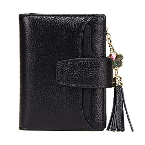 Clasp Leather Azul Percent Wallet Multifunctional RcnryLadies Eighty Short Zipper Small Wallet Lino Off Real Black Wallet Tassel Vertical YEgx7