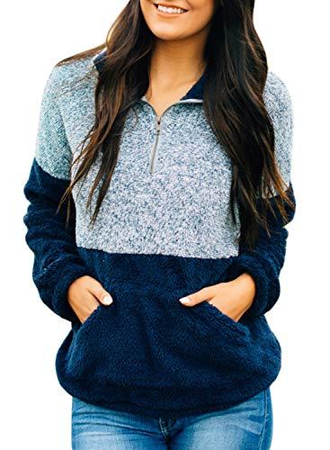Zip Fleece Neck Shirt (Dokotoo Womens Fashion Casual Autumn Long Sleeve Color Block High Neck Fluffy Fleece Zip Pullover Fuzzy Sweatshirt Hoodies with Pockets Navy Medium)