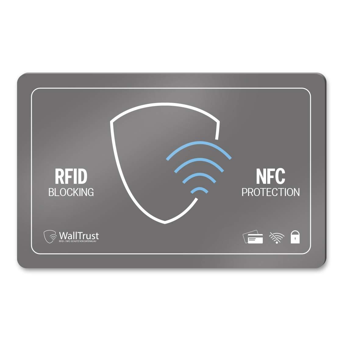 6 Stk WallTrust® RFID NFC Blocker Reisepassschutzhülle Blocking TÜV Passport