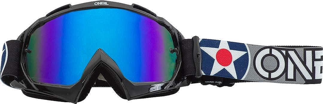O Neal B10 Warhawk Goggle Mx Dh Brille Schwarz Grau Radium Blau Oneal Bekleidung