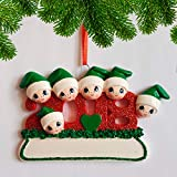 Personalized 2018 Family of 6 Christmas Ornament - Cute Parents Children Friends in Green Hat with Glitter Red Year - Dated Tradition Winter Holiday Heart Memory Gift- Free Customization (Six)