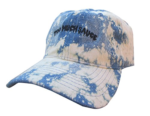 Too Much Sauce Denim Acid Wash Custom Emoji Meme Unstructured Twill Cotton Low Profile Dad Hat Cap (acid wash denim) (Custom Embroidered Denim Shirt)