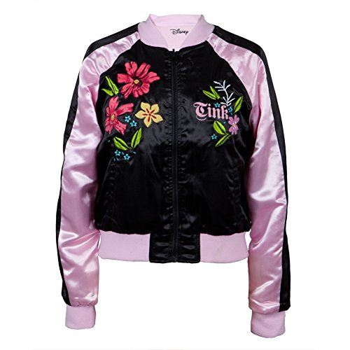 Old Glory Tinkerbell - Womens Flowers Reversible Juniors Track Jacket Medium Black