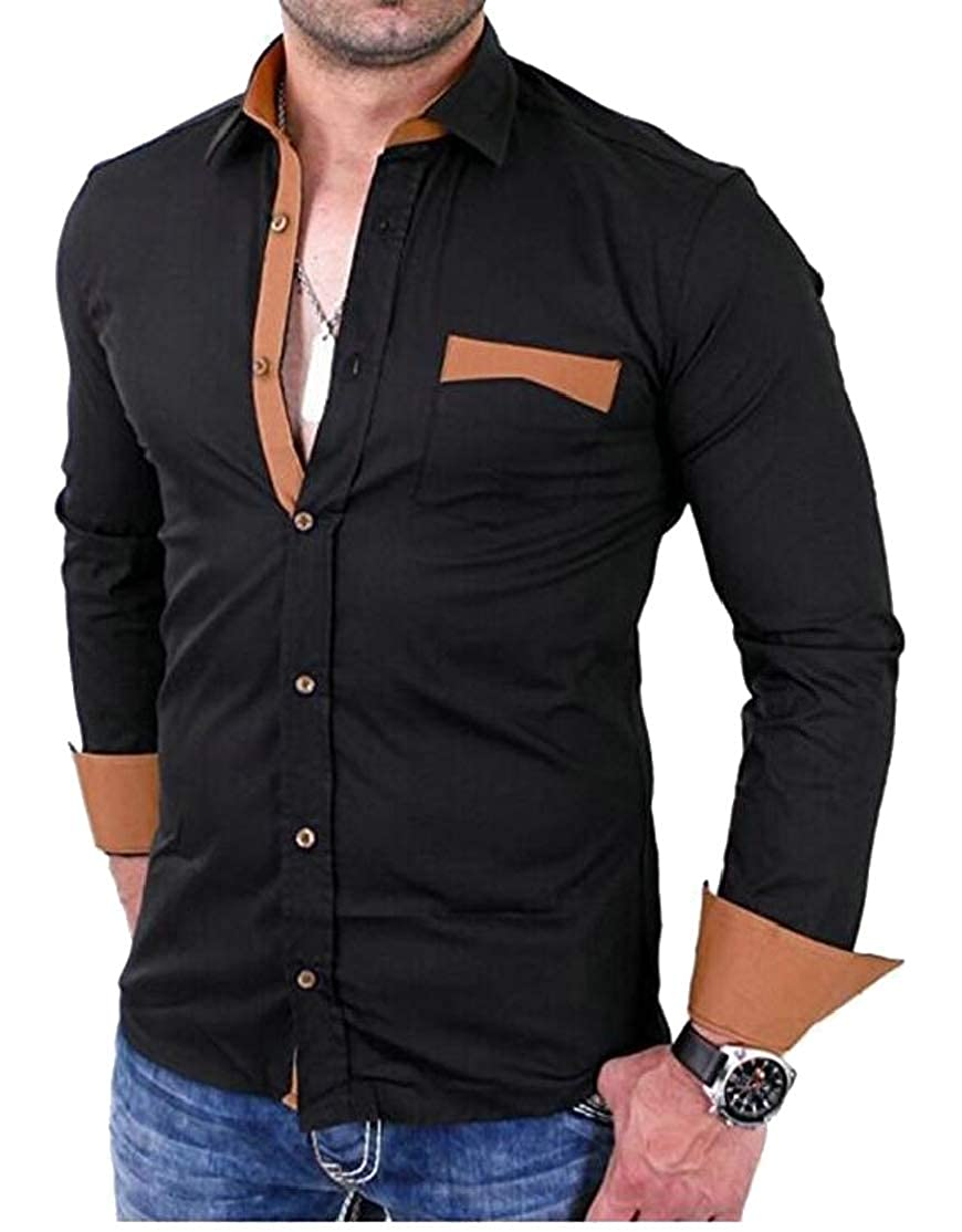 Cromoncent Mens Pocket Casual Curved Hem Long Sleeve Outwear Lapel Neck Button Down Shirts