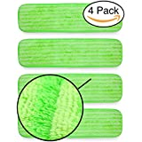 "Microfiber Mop Pads Refill Pack - 4x Reusable Washable Mop Head Replacements Best Thick MF - Spray Wet Dust Dry Flat Velcro Attachment - Fits 14""-18"" Bona, Bruce, Rubbermaid, Libman, Zflow + More"