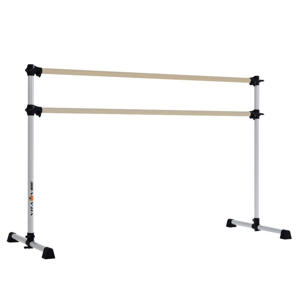 Vita Vibe BD60-W Traditional Wood Portable Double Bar Ballet Barre - Freestanding Stretch/Dance Bar, 5-Feet by Vita Vibe