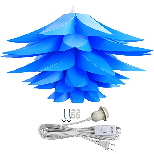 Lightingsky Ceiling Pendant DIY IQ Jigsaw Puzzle Lotus Flower Lamp Shade Kit with 15 Feet Hanging Cord (Blue) by Lightingsky