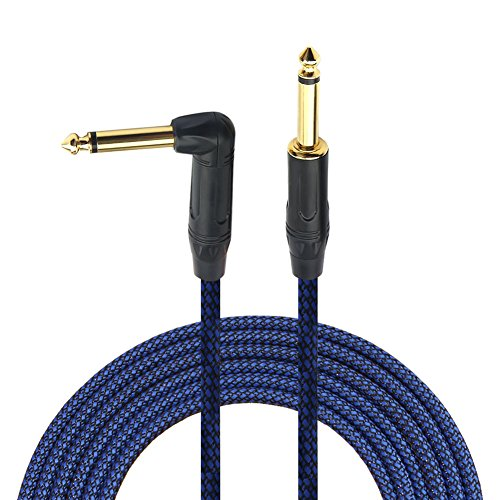 1/4 Inch Cable Guitar Instrument Cable 10 Ft For Electric Bass Keyboard-Gedkoa Instrument Cable Amp Cord With Right Angle To Straight Ts Gold Plugs For Guitar Electric Mandolin- Braided Cloth
