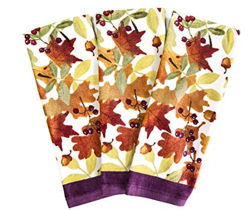 Fall Themed Everyday Kitchen Cotton Dish Cloths Set of 3 Towels (Purple Leaves & (Halloween Themed Dishes)