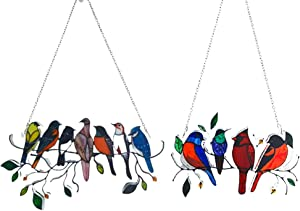 Multicolor Birds on a Wire High Stained Set of 11 Pcs, Birds Stained Suncatcher, Bird Series Ornaments Pendant Home Decoration