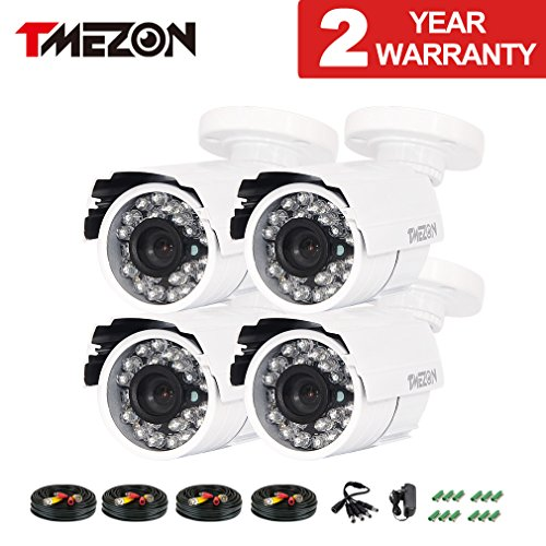 TMEZON 4 Pack 800TVL 960h HAD IR Cut 24 Infrared Lens CCTV Bullet HD Home Surveillance Security Camera Indoor/Outdoor Weatherproof Day Night Vision 3.6mm White …