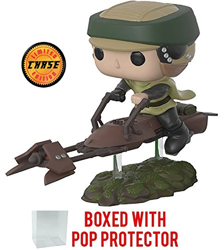 Funko Pop! Deluxe Star Wars: Endor Luke on Speeder Bike CHASE Variant Limited Edition Vinyl Bobble-Head Figure (Bundled with Pop Box Protector Case)