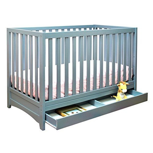 Athena AFG Mila 3-in-1 Convertible Crib with Toddler Guardrail, Grey