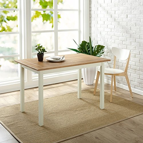Superieur Priage Farmhouse White/Natural Wood Dining Table