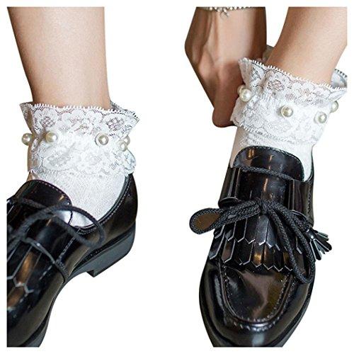 Women Fishnet Socks, Inkach Girls Ruffle Fishnet Ankle High Socks Mesh Lace Pearl Fish Net Short Socks White