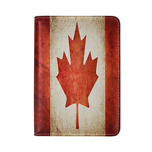 Genuine Leather Canada Canadian Flag Passport Covers Holder Case Protector
