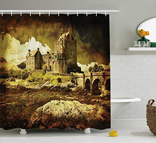 Ambesonne Medieval Decor Shower Curtain, Old Scottish Castle in Vintage Style European Middle Age Culture Heritage Town Photo, Fabric Bathroom Set with Hooks, 75 Inches Long, Sepia