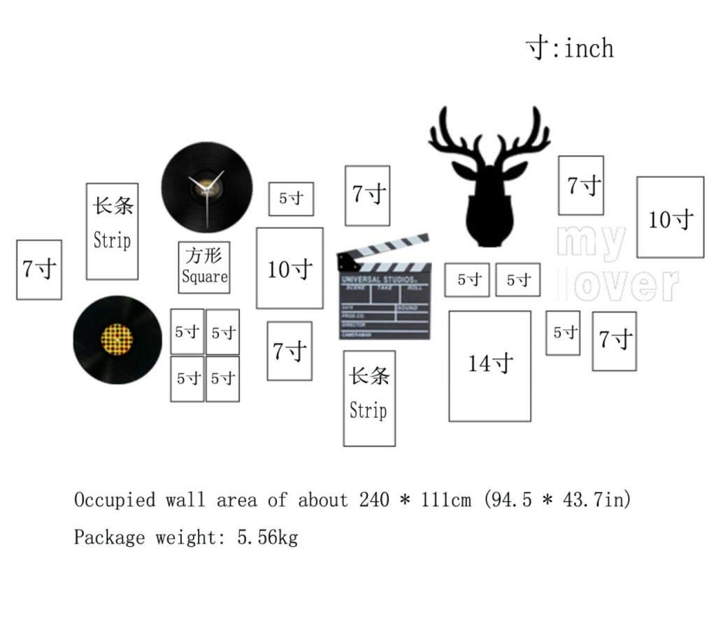 Jjek K Photo Frame Photo Wall Nordic Style Photo Contains Wall Clock Combination Package Photo Wall Suitable for Sofa Living Room Bedroom Decoration A Total of 23 Pieces by Jjek (Image #3)