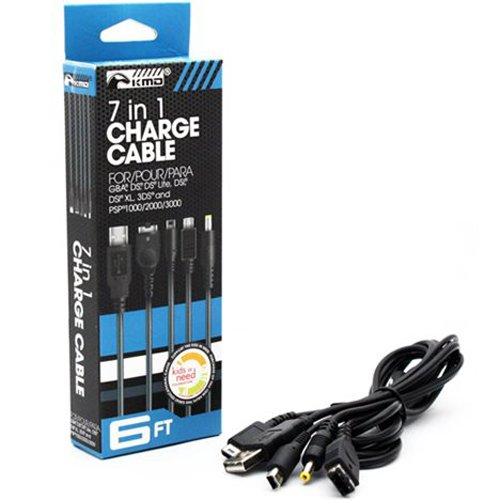 KMD - Universal 7 in 1 Portable Charge Cable for GBA, DS, DS Lite, DSi, DSi XL, 3DS, PSP