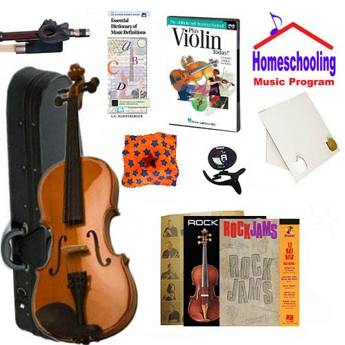 Homeschool Music - Learn to Play the Violin Pack (Rock Jams Music Book Bundle) - Includes Student 1/2 Violin w/Case, DVD, Books & All Inclusive Learning Essentials