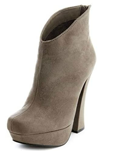 ddb2ea990d2 Suede Ankle Boot Tassel Chunky Heel Platform Pump Taupe sz.9