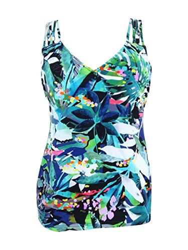 Profile by Gottex Women's Printed Triple Strap V-Neck Tankini Top Swimsuit, Tropical Dawn Multi, (Gottex Tankini)