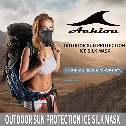 Achiou Neck Gaiter Face Mask Scarf Dust Sun Protection Cool Lightweight Windproof, Breathable Fishing Hiking Running Cycling