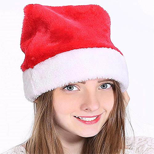 Santa Hat 3 Pack Deluxe Christmas Hat Velvet Comfort Liner for Adults Xmas Hat New Year Festive Holiday Christmas Party Supplies