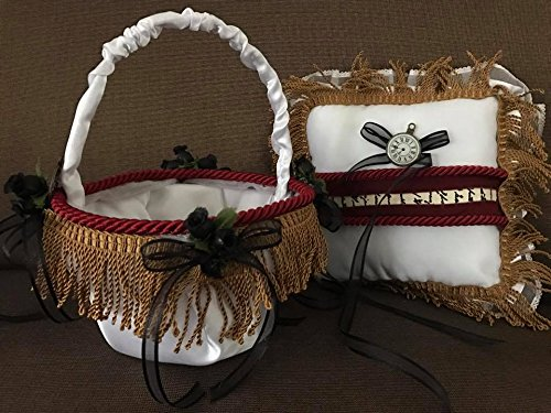 Steampunk Wedding Ring Pillow & Flower Basket Gothic Red and Black Design Keepsake Gift Idea