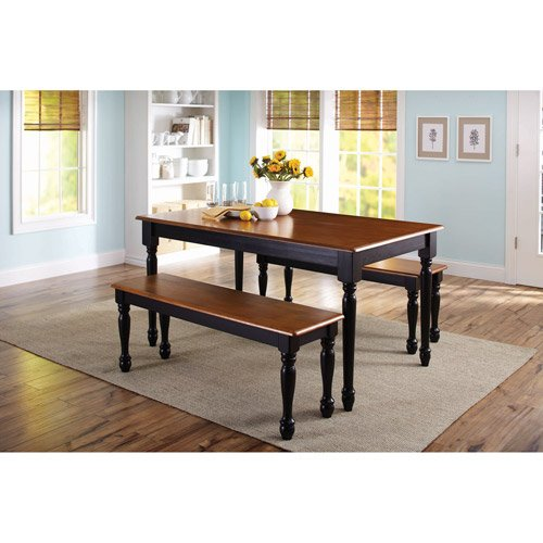 Wooden Dining Table Set - 3-piece wooden dining and breakfast table and bench set, furniture