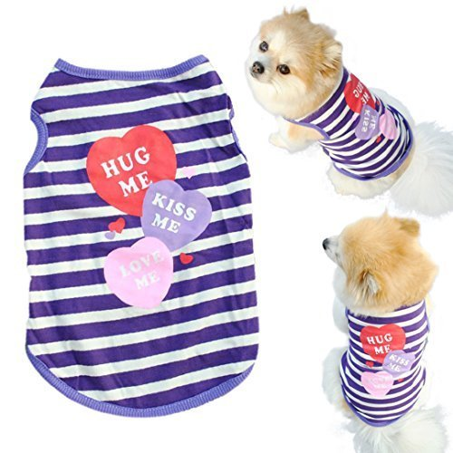 Mosunx(TM) Fashion Pet Puppy Summer Shirt Small Dog Cat Pet Clothes Stripe Vest T Shirt (M)